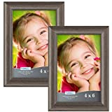 4x6 picture frames - Icona Bay 4x6 Picture Frames: (2 Pack, Hickory Brown Wood Finish) Wooden Picture Frames, Photo Frames for Walls or Tables, 4 by 6 Frames for Family, Grandma, Baby, Lakeland Collection