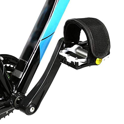UOSC 1 Pairs Bicycle Pedal Straps Pedal Toe Clips Straps Tape Slip Double Adhesive Straps for Fixed Gear Bike Beginner Black (Best Toe Clips For Fixed Gear)