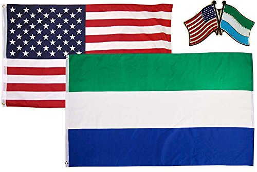 (AES Wholesale Combo USA & Sierra Leone Country 3x5 3'x5' Flag & Lapel Pin Fade Resistant Double Stitched Premium Penant House Banner Grommets)