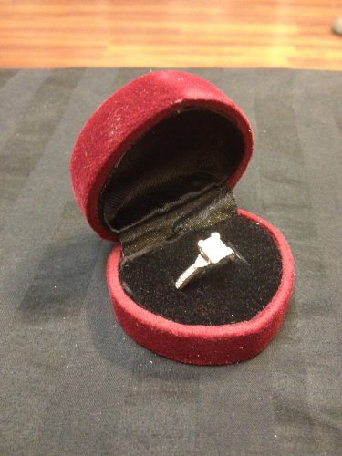 Wine Heart Velvet Metal Hinged Engagement Wedding Ring Deluxe Gift Box B12