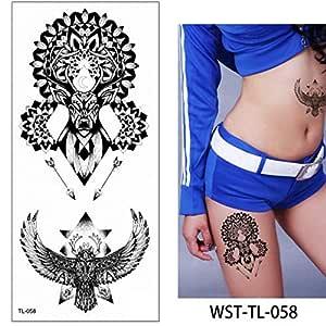 Handaxian 3pcsFlor de Loto Tatuaje Pegatina Azul Rosa Tribal ...