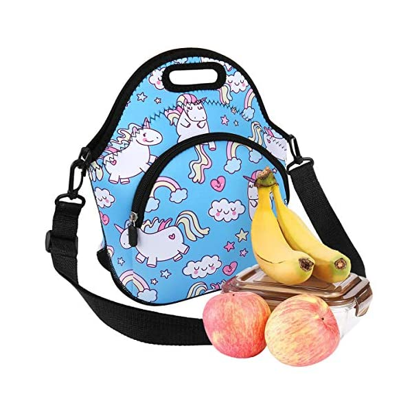Neoprene Lunch Bag Reusable Tote Bag Insulated Lunch Box Adult Large Lunch Tote Handbag Fordable for Men & Women, Boys & Girls, 5