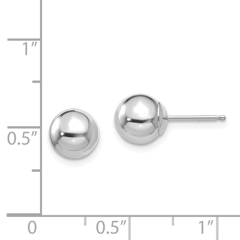 Solid 14k White Gold Polished 7mm Ball Post Earrings