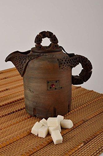 Handmade High Ceramic Teapot Unusual Clay Kitchenware Designer Teapot
