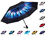 Fidus Reverse/Inverted Automatic Windproof Folding Travel Umbrella - Compact Lightweight Portable Outdoor UV Protection Golf Umbrella For Women Men Kids-blue flower