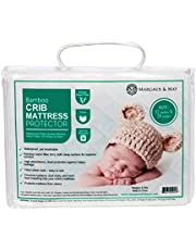 """Crib Mattress Protector by Margaux & May - Waterproof, Noiseless, Ultra Soft - Dryer Friendly - Deluxe Bamboo Rayon - Fitted Quilted Pad - Stain Protection Baby Cover (Standard Size 52"""" x 28"""")"""