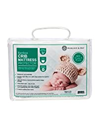 Ultra Soft Waterproof Crib Mattress Protector Pad From Bamboo Rayon Fiber by Margaux & May - Fitted Quilted Mattress Protector Pad for Your Crib. High Absorbency and Stain Protection Baby Cover.