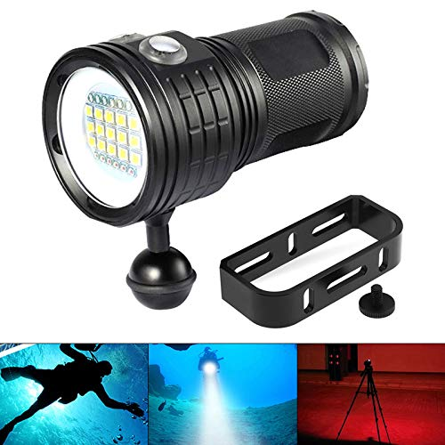 SecurityIng 18000LM 7 Modes Scuba Diving Underwater Flashlight, Wide Beam Angle Waterproof 15x White + 6X Red + 6X Blue Fill Light Dive Photography Video Torch with Ball Joint -Battery Not Included ()