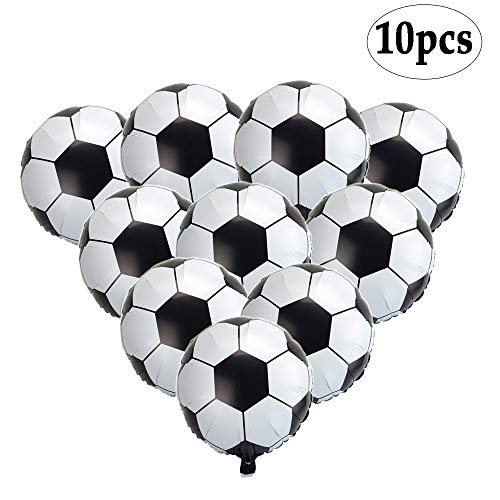 BinaryABC Soccer Balloons,Football Party Supplies,Foil Soccer Balloons,18 Inch,(10pcs) -