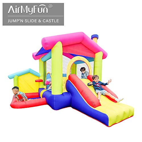 AirMyFun Inflatable Bounce House,Bouncy Castle with Air Blower,Play House with Ball Pit,Inflatable Kids Slide,Jumping Castle with Carry Bag