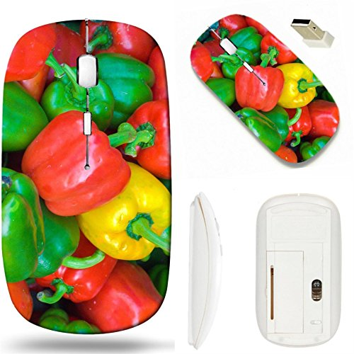 MSD Wireless Mouse White Base Travel 2.4G Wireless Mice with USB Receiver, Noiseless and Silent Click with 1000 DPI for notebook, pc, laptop, computer, mac book design 26324031 Capsicums Bell (Capsicum Bell Pepper)