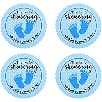 Blue Outus 400 Pieces 1.5 Inch Round Baby Shower Labels Stickers Baby Footprint Thank You Self-Adhesive Stickers for Baby Shower Birthday Party 20 Sheets