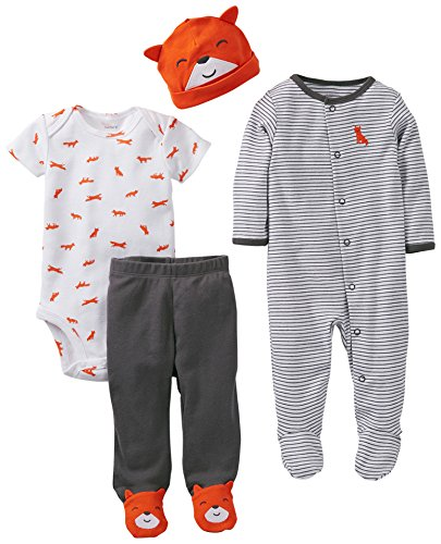 Carter's Baby Boys' 4 Piece Layette Set (Baby) - Orange - 6 Months (Piece Layette)