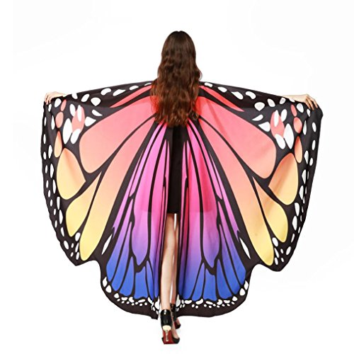 ASfairy Butterfly Wings Shawl Scarves, Women Cape Scarf Fairy Poncho Wrap Pixie Poncho Halloween Costume Accessory (Hot Pink)