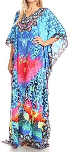 turco copertura caftan collo Anahi Rosa Flowy su vestito lungo con 17179 Sakkas Design in V strass wB64x0
