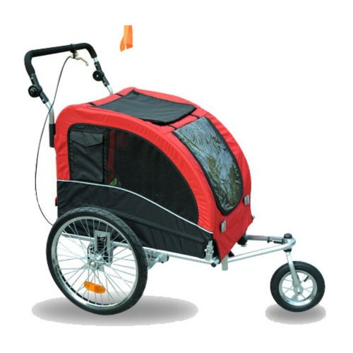 Aosom Elite II Pet Dog Bike Bicycle Trailer Stroller Jogger w/ Suspension – Red 511RaVAXwUL