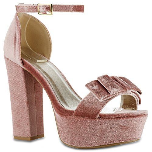 RF ROOM OF FASHION Women's Vegan Velvet Dressy Bow Sky High Platform Chunky Heel Sandals Blush (5.5) -