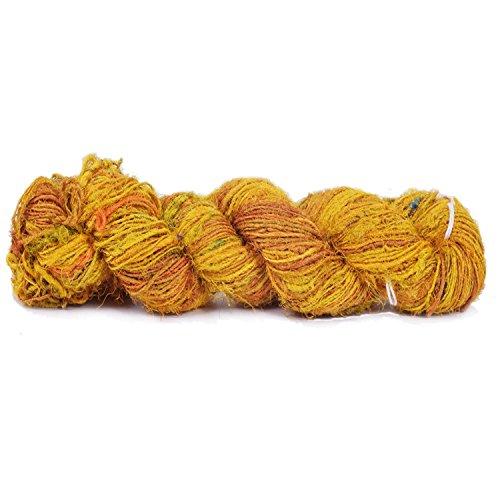 Knitsilk Premium Recycled Sari Silk Yarn - Yellow - 165 Yards - Knit, Crochet, Tatting, Jewelry
