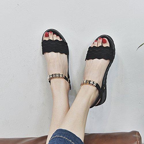 da confortevoli semplice c spiaggia scarpe rétro YMFIE piatto fondo moda toe antiskid Estate sandali toe lady qUWPZa6O