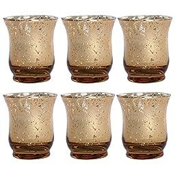 Mercury Glass Gold Votive Set, 6 Pieces, 3.5 Inches