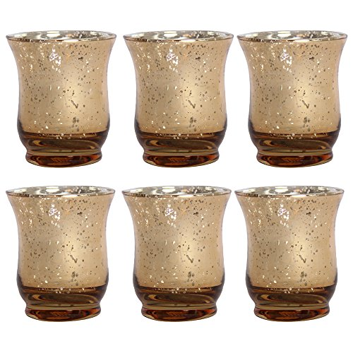 Mercury Glass Gold Votive Set, 6 Pieces, 3.5 Inches