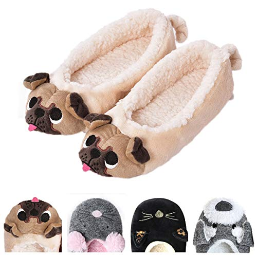 Women's Plush Winter Warm Animal Soft Cute Home Slippers Dog Yellow 9-10 M -