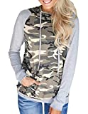 Defal Womens Long Sleeve Camouflage Hoodies Tunic Top Pockets Sweatshirt Blouse Shirt(Grey,L)