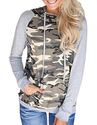 Shirt Camouflage Top (Defal Womens Long Sleeve Round Neck Camouflage Hoodies Pockets Sweatshirt Shirt Top(Grey,XL))
