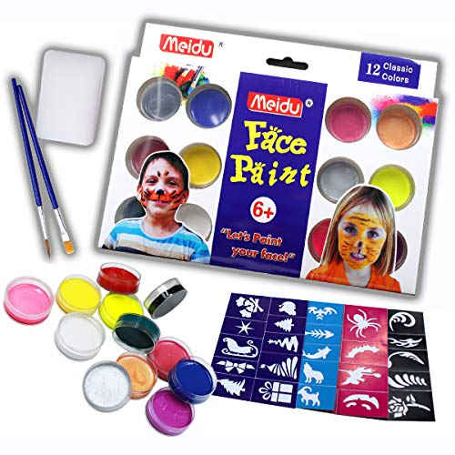 Face Paint and Body Paint Set – Come with 12 Colors, Two Brush and 40 Stencils – Non Toxic, Water Based and Easy wash – FDA Compliant and Skin Test Passed (Round)