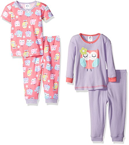 Gerber Baby Girls' 4-Piece Pajama Set, Owls, 12 Months