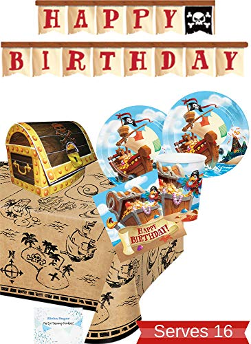 Pirate Party Supplies and Decorations - Pirate Plates Cups Napkins for 16 People - Includes Banner, Tablecloth and Centerpiece - Perfect Pirate Birthday Party Decorations!