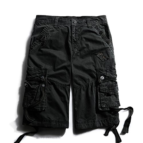 OCHENTA Men's Cotton Loose Fit Multi Pocket Cargo Shorts #3233 Black 31