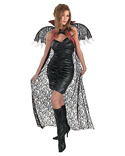 Sexy Blood Vampiress Adult Womens Costumes (Red Black Lace Cape With Wings Classic Vampire Vampiress Costume Sizes: One Size)
