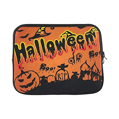 Mouno Neoprene Soft Pouch Cover, Briefcase Carrying Bag, Happy Halloween Scary Creepy Halloween Pack Sleeve Soft Laptop Case Bag Pouch -