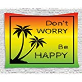 Rasta Tapestry by Ambesonne, Don't Worry Be Happy Music Quote of Iconic Singer Palms Ombre Colors, Wall Hanging for Bedroom Living Room Dorm, 60 W X 40 L Inches, Black Red Green and Yellow