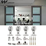 WINSOON Ship from USA Modern American Style Stainless Steel Double Sliding Barn Wood Door Hardware Track Roller Set Hanging Closet Cabinet Rail Kit (12FT / Double Door Kit)