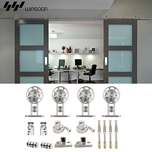 WINSOON Ship from USA Modern American Style Stainless Steel Double Sliding Barn Wood Door Hardware Track Roller Set Hanging Closet Cabinet Rail Kit (12FT / Double Door Kit) by WINSOON