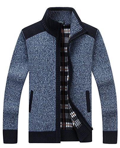 Vcansion Mens Classic Long Sleeve Full Zip up Fleece Knitted Cardigan Sweaters