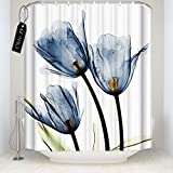 Designer Shower Curtains Fabric Blue Tulip Flowers Florals Polyester Fabric Hookless Shower Curtains Designer Decorative Bathroom Curtains(72