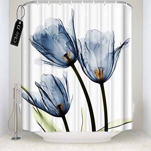 Blue Tulip Flowers Florals Polyester Fabric Shower Curtains Designer Decorative Bathroom Curtains with Hooks(66