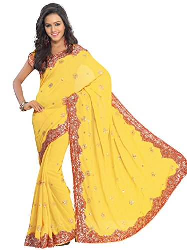 Indian Trendy Yellow NW Bollywood Sequin Embroidery Sari Saree Costume Boho danse du ventre Indian Party Wear