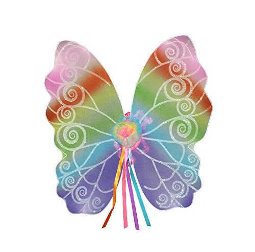 Rainbow Transparent Fairy Pixie Wings w/ Silky Shoulder Ties