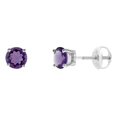 5mm 14k White Gold Natural Amethyst Stud Earrings Screw Back Round 0.5  carat size 03cdd4f43dd5