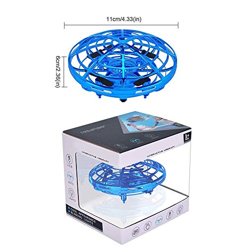 zerkar Flying Ball Mini Drone Toy Hand-Controlled Drone 360° Rotating and Shinning LED Lights Flying Toys Interactive Infrared Induction Helicopter Ball for Boys and Girls Kids Gifts (Blue) by zerkar (Image #8)
