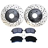 Prime Choice Auto Parts SCDPR4106141061721 Pair of Drilled and Slotted Rotors and Premium Ceramic Brake Pads