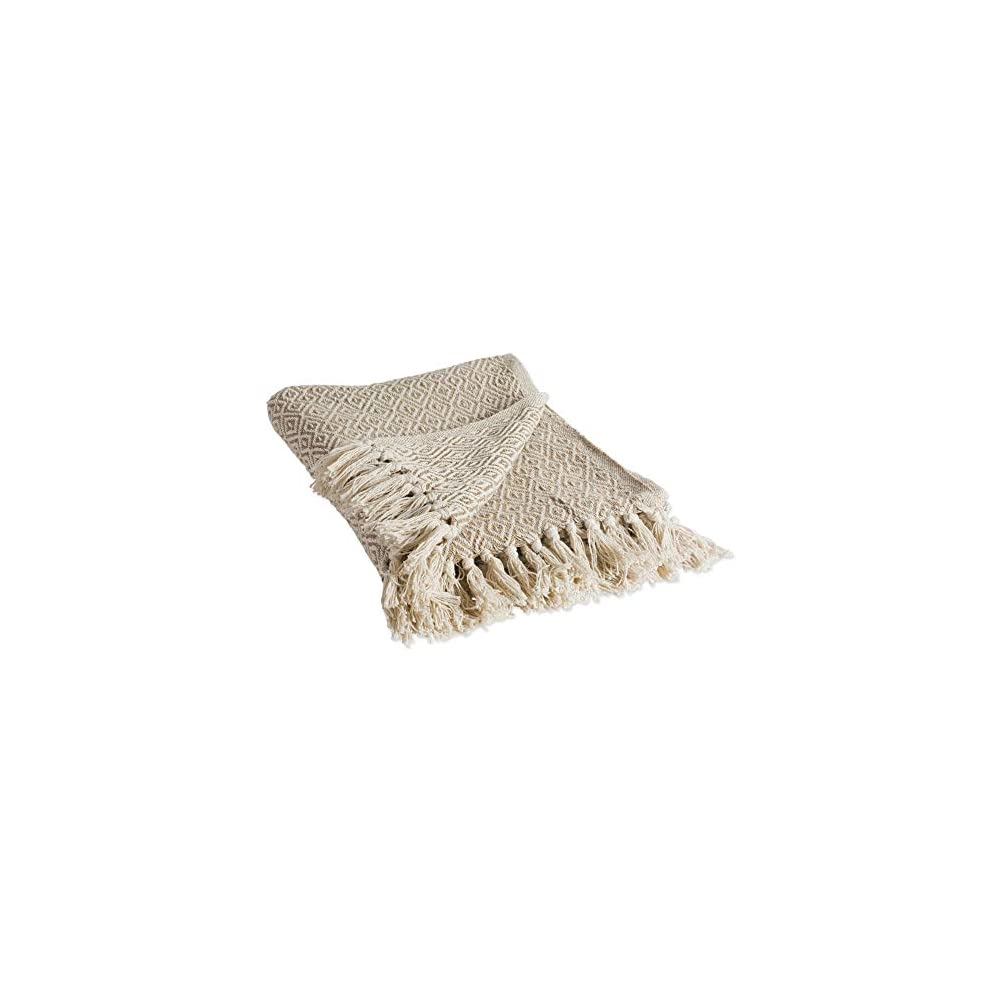 DII Rustic Farmhouse Cotton Diamond Blanket Throw with Fringe For Chair, Couch, Picnic, Camping, Beach, & Everyday Use…