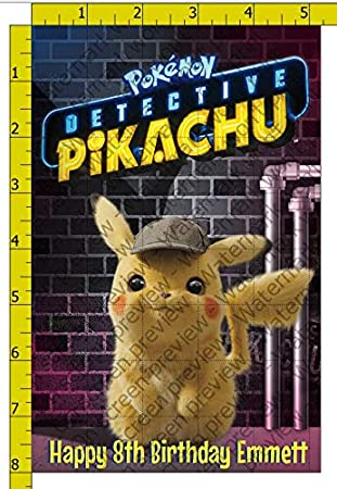 1//4 Sheet Detective Pikachu Movie Poster Personalized Edible Frosting Cake Topper