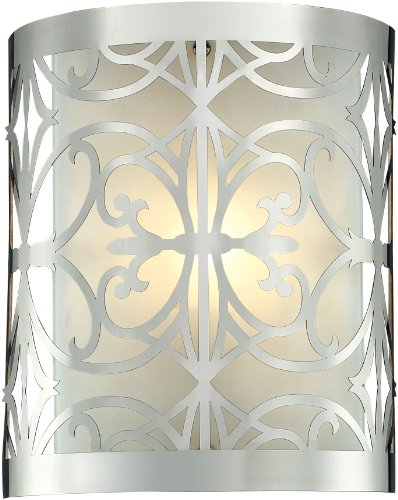 Elk Lighting 11430/1 8 by 10-Inch Willow Bend 1-Light Bathbar with Laser Cut Stainless Frosted Glass Shade, Polished Chrome Finish