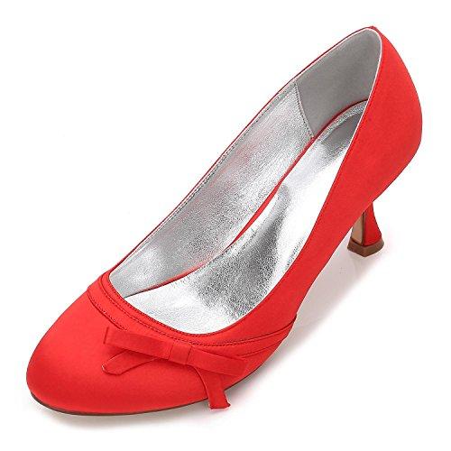 17061 38 Dames D'honneur Red Glissement Nuptiales Femmes Pompes Mariage Chaussures Demoiselle Satin L Sur Prom Taille yc De SwaqOZ0