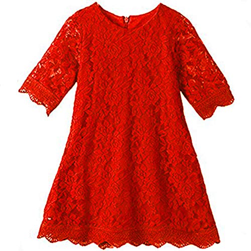 Lace Flower Girl Dress Red Elegant Bridesmaid Dress Size 6 Wedding Party Fall Holiday Pageant Girl Dress Formal Ball Gowns Long Sleeve Knee Length Christmas Easter Flower (Big Red 190) -